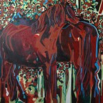 Red horse love. 150cm x 150cm, oil paint on canvas, 2015