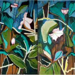 Helleborus, twice. Oil on canvas, 150x150cm each, 2017.